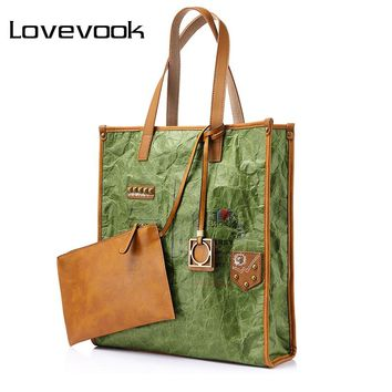 LOVEVOOK brand women big handbag retro kraft paper folds large capacity tote bag female envelope pattern pendant shoulder bag
