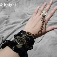 Women Black Lace Gothic Lolita Steampunk Hand Cuff Gloves with Gear Chain Ring