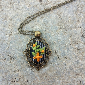 Green Orange Flower Necklace, Hippie Fashion Jewelry, Boho Chic, Fabric Necklace