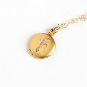 "Antique Monogrammed ""F"" 10k Solid Gold Locket Pendant Necklace - Early 1900s Edwardian Art Deco Initialed Small Dainty Fob Children Jewelry"