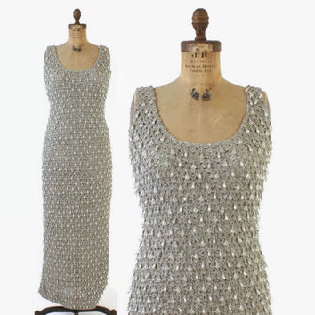 Vintage 60s BEADED DRESS / 1960s Bombshell Metallic Silver Tinsel Evening Gown Drippings with Beads M
