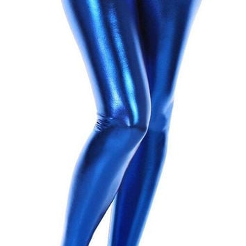BadAssLeggings Women's Wet Look Liquid Leggings Size Medium Electric Blue