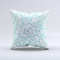 White with Blue Green Floral Thin Laced Ink-Fuzed Decorative Throw Pillow