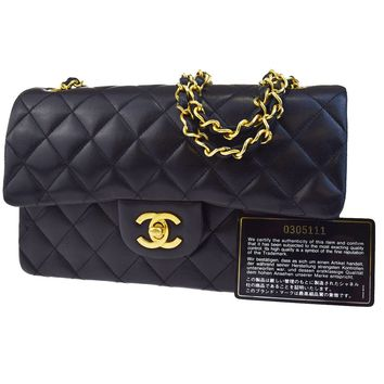 Auth CHANEL CC Matelasse Double Flap Quilted Chain Shoulder Bag Leather 628L295