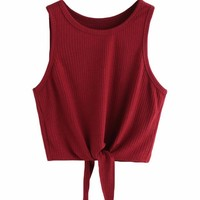 Front Tie Ribbed Crop Tank Top - Red