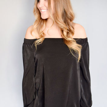 Satin Off The Shoulder Top Black