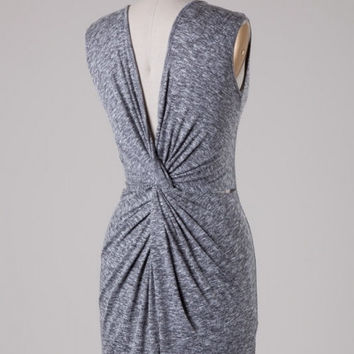 Twist Back Heathered Jersey Bodycon Dress - Gray