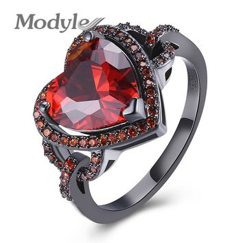 Modyle 4 Colors Female Heart Ring Fashion Style Black Gold-Color Jewelry Vintage Wedding Rings For Women