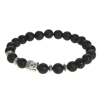 New Fashion Unique Men Women Natural Stone Beads Bracelet Bangle Charm Jewelry for Gift Unisex Buddha Head