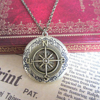 antique bronze compass locket necklace jewelry