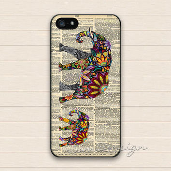 Elephant iPhone 5 Case,iPhone 5s Case,iPhone 4 4s Case,Samsung Galaxy S3 S4 Case,Aztec Floral Elephant Hard Plastic Rubber Cover Skin Case