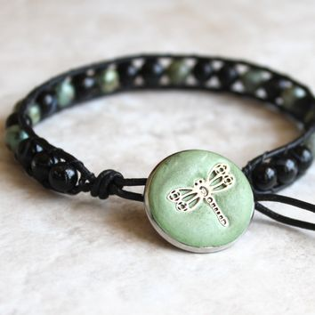 African turquoise and sardonyx, leather wrap bracelet with dragonfly button closure