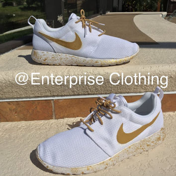 "Custom White Nike Roshes ""White Angels"", Nike Roshe, Gold Roshe, Custom Roshe,"