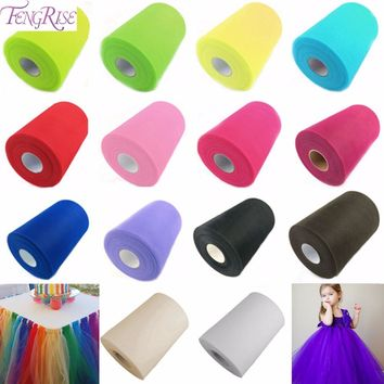 FENGRIS Tulle Roll 25 100Yard Tulle Rolls Organza Roll Spool Tutu Soft Wedding Decoration Birthday Party Kids Favors Baby Shower