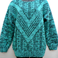 1980's Sweater - Retro Teal & Black w/ Shoulder Pads! - Classic 80's Pullover - Donagain