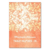 wedding escort cards string lights gold and peach table card