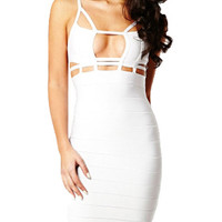 Sexy Cut White Color Nightclub Bandage Dress