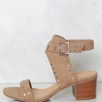 Studded Strappy Heel Taupe