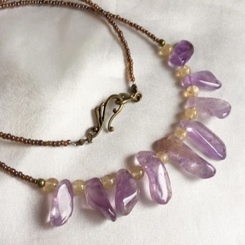 Raw crystal amethyst, citrine, & ametrine necklace. Unique, rustic and earthy, purple and yellow gemstone jewelry. February birthstone