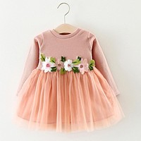 6-24M Baby Girl Floral Tutu Long Sleeve Princess Dress