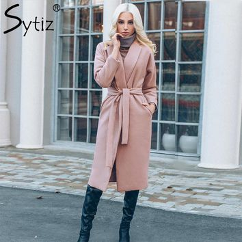 Sytiz Pink Belt Wool Winter Coat Womens 2017 Solid Long Sleeve Pockets Long Winter Parka Cardigan Fashion Warm Overcoat Female