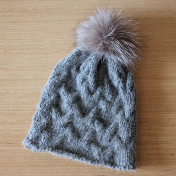 Alpaca cable knit beanie hat with fur pom pom, Women's knitted hat, Fur bobble hat, Recycled fur pom pom
