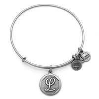 Alex and Ani Initial L Charm Bangle Bracelet - Rafaelian Silver Finish