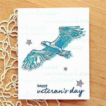 InLoveArts Pcs 14*18cm Animal Eagle Words Stamp Scrapbooking New 2018 Album Embossing Silicone Transparent Clear Stamp Stencils