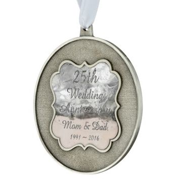 25th Wedding Anniversary Chic Silver Typography Ornament