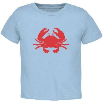 DCCKJY1 Summer - Crab Faux Stitched Light Blue Toddler T-Shirt
