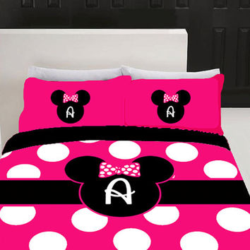 Minnie Mouse Hot Pink Custom Personalized Bedding with Pillowsham Set