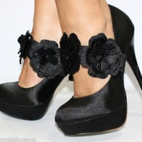 6651 NEW LADIES BLACK SATIN HIGH HEEL SHOES | CHIQ