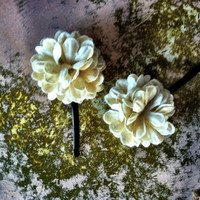 Fabric Flower Bobby Pins Set of 2 Two IVORY CREAM by ThreeBirdNest