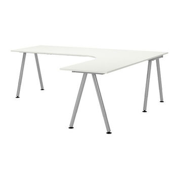 GALANT Desk combination right, white, silver color - silver color - IKEA