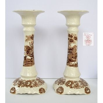 Large Vintage Brown & White Toile China Transferware Candle Holder - Clarice Cliff Royal StaffordshireClarice Cliff - A Pair is Available