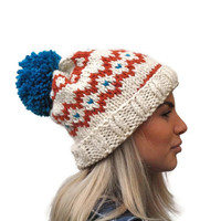 Fair isle hat, rolled brim hat, extra chunky woman hat, wool hat, winter accessory, warm hat with big pom pom