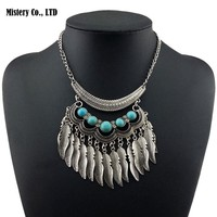 Tassel  Turquoise Necklaces Vintage  Silver Plated  Jewelry for Women