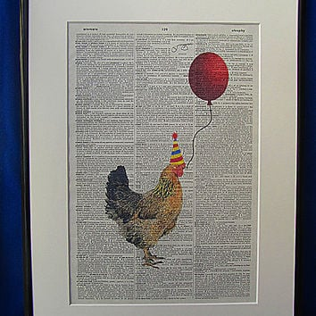Party Time Chicken Wall Art Print