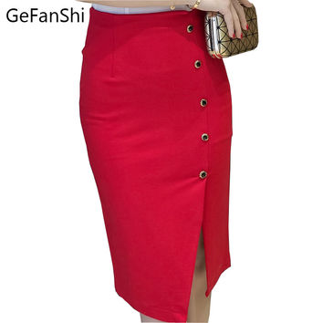 Plus Size Women Office Skirts S-5XL Fashion Autumn Slim Sexy High Waist Bodycon Pencil Skirt Single Breasted Open Slit Ol Skirt