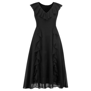 Goth Lace Dress Women Summer Ruffle Vestidos Sleeveless Black Elegant Evening Expansion Robe Fashion Vintage Party Swing Dresses