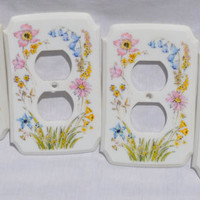 Vintage Floral Outlet Covers Plates Retro 1970s American Tack and Hardware