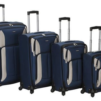 F155-NAVY 4Pc Impact Spinner Luggage Set