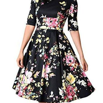 ESBTND Sidefeel Women Vintage 1950's 3/4 Sleeve Floral Print Pleated Cocktail Swing Dress(S-XXL)