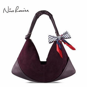 Large Slight Women Hobo Real Suede Leather Shoulder Bag Fashion Big Casual Leisure Shopping Sac A Main Femme De Marque Bolsa