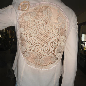 Romantic Cowgirl Lace Shirt Shabby Boho Chic Upcycled Clothes Western Beaded Blouse Size 9 long sleeve Up Cycle Clothes Bohemian Clothing