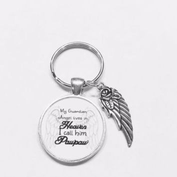 My Guardian Angel Lives In Heaven I Call Him Pawpaw In Memory Wing Keychain