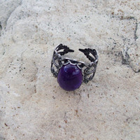 Amethyst Gemstone Ring - Adjustable Silver tone filigree band Ring