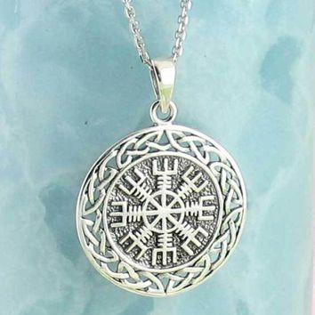 Vegvisir Viking Compass Necklace in Sterling Silver