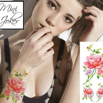Mini Joker | Awesome Tattoos Red Roses Tattoo With Leaves