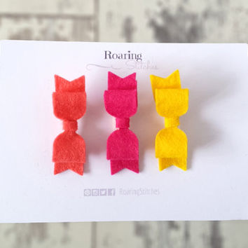 Neon hair bow clip set - coral, pink, yellow